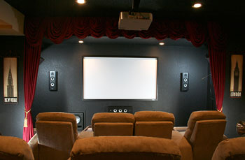 Epic Grand Master - In-Wall Home Theater in Black Oak